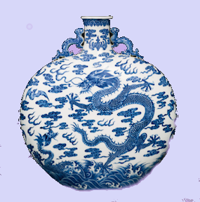 Blue And White 'Dragon' Moonflask Qing Dynasty, Qianlong Period