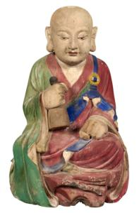 KR-Korean-Painted-Gesso-and-Wood-Figure-of-a-Monk,-Choson-Dynasty,-probably-18th-century-800px