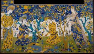 Tile panel,  17th century, Iran, Isfahan, @The Met